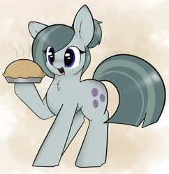 Size: 3334x3451 | Tagged: safe, artist:itsmeelement, marble pie, earth pony, pony, alternate hairstyle, chest fluff, cute, ear fluff, female, food, hair bun, high res, marblebetes, mare, open mouth, pie, solo
