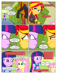 Size: 612x792 | Tagged: safe, artist:greatdinn, artist:newbiespud, edit, edited screencap, screencap, fluttershy, spike, sunset shimmer, twilight sparkle, dog, comic:friendship is dragons, equestria girls, equestria girls (movie), clothes, collaboration, comic, cutie mark on clothes, dialogue, frown, hairclip, lockers, pointing, sad, screencap comic