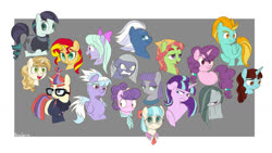 Size: 1280x722 | Tagged: safe, artist:petalierre, cloudchaser, coco pommel, coloratura, flitter, lightning dust, limestone pie, marble pie, maud pie, moondancer, night glider, say cheese, starlight glimmer, sugar belle, sunset shimmer, suri polomare, sweet biscuit, tree hugger, earth pony, pegasus, pony, unicorn, bust, cute, female, mare, portrait, s5 starlight, so much pony