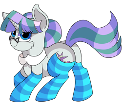 Size: 1280x1126 | Tagged: safe, artist:rainbowtashie, cloudy quartz, twilight velvet, oc, oc:glossy granite, earth pony, pony, unicorn, adorable face, butt, clothes, collar, commissioner:bigonionbean, cute, cutie mark, dat flank, fusion, fusion:glossy granite, glasses, hair bun, plot, seductive pose, socks, solo, striped socks, sultry pose, writer:bigonionbean