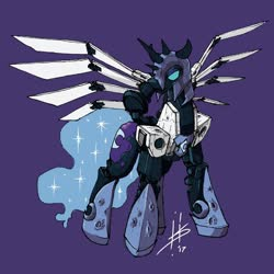 Size: 1280x1280 | Tagged: safe, artist:pencilbrony, nightmare moon, alicorn, cyber pony, cyborg, pony, artificial wings, augmented, empty eyes, female, mare, purple background, signature, simple background, solo, spikes, story included, transformers, unicron, wings