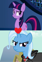 Size: 496x726 | Tagged: safe, edit, edited screencap, screencap, mean twilight sparkle, trixie, twilight sparkle, friendship is magic, magic duel, the mean 6, female, lesbian, mean twixie, shipping, shipping domino, twixie