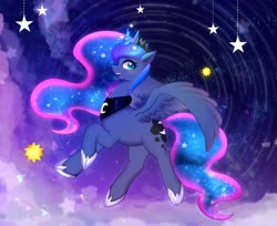 Size: 1280x1046 | Tagged: safe, artist:hosikawa, princess luna, alicorn, pony, crown, cute, ethereal mane, female, glowing horn, horn, jewelry, lunabetes, mare, open mouth, profile, regalia, solo, spread wings, starry mane, stars, wings