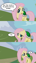 Size: 640x1104 | Tagged: safe, edit, edited screencap, screencap, fluttershy, pegasus, pony, friendship is magic, 3 panel comic, caption, comic, dialogue balloon, female, google translate, image macro, implied patricide, koopa shell, koops, mare, meme, paper mario, paper mario: the thousand year door, screencap comic, solo, text, this will end in patricide, turtle shell