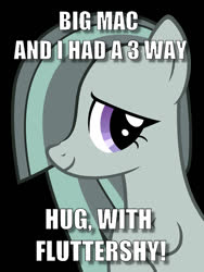 Size: 750x1000 | Tagged: safe, marble pie, bait and switch, caption, hug, image macro, implied big macintosh, implied fluttermac, implied fluttermarblemac, implied fluttershy, implied marblemac, implied shipping, implied straight, meme, painfully innocent marble, text