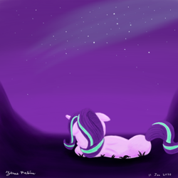 Size: 1000x1000   Tagged: safe, artist:rockhoppr3, starlight glimmer, pony, unicorn, female, floppy ears, lying down, mare, part of a set, solo