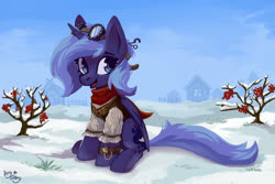 Size: 3000x2000 | Tagged: safe, artist:amy-gamy, princess luna, alicorn, pony, clothes, cute, digital art, female, filly, goggles, high res, lunabetes, s1 luna, sitting, smiling, snow, solo, steampunk, watch, winter, woona, wristwatch, younger