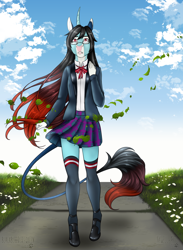 Size: 1174x1603 | Tagged: safe, artist:blackblood-queen, oc, oc only, oc:annie belle, anthro, dracony, hybrid, unguligrade anthro, unicorn, anthro oc, clothes, digital art, fangs, female, glasses, hoof shoes, kneesocks, leonine tail, mare, plaid skirt, socks, solo