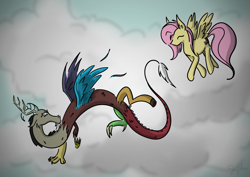 Size: 2048x1448   Tagged: safe, artist:minegirl007, artist:shyinka, discord, fluttershy, draconequus, pegasus, pony, cloud, duo, eyes closed, female, flying, looking back, male, mare, sky, spread wings, three quarter view, wings