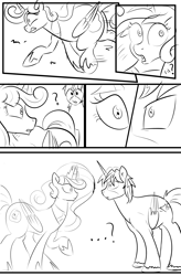 Size: 1800x2740 | Tagged: safe, artist:candyclumsy, oc, oc:king speedy hooves, oc:queen galaxia, alicorn, pony, comic:the fusion flashback 2, alicorn princess, basement, canterlot, canterlot castle, chamber, comic, commissioner:bigonionbean, concerned, cutie mark, embarrassed, ethereal mane, flashback, fusion, fusion:king speedy hooves, fusion:queen galaxia, jewelry, looking at you, male, royalty, shocked, sketch, sketch dump, stallion, staring into your soul, surprised, writer:bigonionbean
