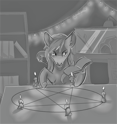 Size: 1534x1616 | Tagged: safe, artist:flaming-trash-can, oc, oc:antimony ouroboros, earth pony, pony, snake, black and white, candle, grayscale, magic, magic circle, monochrome, pentagram, ritual, sketch, solo, summoning circle