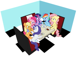 Size: 5255x4372 | Tagged: safe, artist:chub-wub, applejack, fluttershy, pinkie pie, rainbow dash, rarity, twilight sparkle, alicorn, earth pony, pegasus, pony, unicorn, absurd resolution, book, burger, digital art, eating, female, food, glowing horn, hatless, hoof hold, horn, magic, mane six, mare, meat, missing accessory, ponies eating meat, restaurant, smiling, telekinesis, twilight sparkle (alicorn)