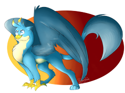 Size: 1024x760 | Tagged: safe, alternate version, artist:mapleicious, artist:mapleiciousmlp, gallus, griffon, abstract background, male, solo, speedpaint available