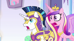 Size: 1920x1080 | Tagged: safe, screencap, princess cadance, shining armor, the beginning of the end, spoiler:s09e01, spoiler:s09e02