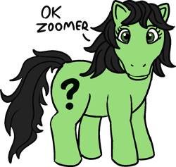 Size: 955x905 | Tagged: safe, alternate version, artist:poniidesu, oc, oc only, oc:filly anon, earth pony, pony, /mlp/, cute, drawthread, female, filly, g1, looking at you, ocbetes, ok boomer, ok zoomer, simple background, solo, text, transparent background