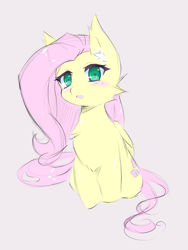 Size: 2560x3412 | Tagged: safe, artist:luna-491, fluttershy, pegasus, pony, blushing, cheek fluff, chest fluff, colored pupils, cute, ear fluff, female, folded wings, gray background, high res, mare, open mouth, shyabetes, simple background, sitting, solo, three quarter view, wings