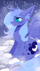 Size: 1080x1920 | Tagged: safe, artist:luna-491, princess luna, alicorn, pony, cloud, colored pupils, cute, ear fluff, female, lunabetes, mare, night, on a cloud, open mouth, s1 luna, sitting, sky, snow, snowfall, solo, spread wings, wings, winter