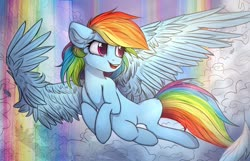 Size: 1280x822   Tagged: safe, artist:reterica, rainbow dash, pegasus, pony, cloud, feather, female, flying, large wings, mare, rainbow, signature, solo, wings