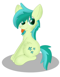 Size: 1024x1326 | Tagged: safe, artist:skyflys, sandbar, earth pony, cheek fluff, chest fluff, cute, looking at you, male, sandabetes, simple background, solo, teenager, tongue out, transparent background