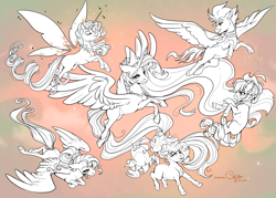 Size: 5905x4220 | Tagged: safe, artist:cigarscigarettes, applejack, fluttershy, pinkie pie, rainbow dash, rarity, twilight sparkle, alicorn, the last problem, spoiler:s09e26, absurd resolution, artificial wings, augmented, lineart, magic, magic wings, mane six, older, older applejack, older fluttershy, older mane 6, older pinkie pie, older rainbow dash, older rarity, older twilight, princess twilight 2.0, signature, twilight sparkle (alicorn), wings