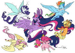 Size: 5905x4220 | Tagged: safe, artist:cigarscigarettes, colorist:pone-dancer, applejack, fluttershy, pinkie pie, rainbow dash, rarity, twilight sparkle, alicorn, the last problem, spoiler:s09e26, absurd resolution, artificial wings, augmented, colored lineart, fairy wings, magic, magic wings, mane six, older, older applejack, older fluttershy, older mane 6, older pinkie pie, older rainbow dash, older rarity, older twilight, princess twilight 2.0, signature, simple background, transparent background, twilight sparkle (alicorn), wings