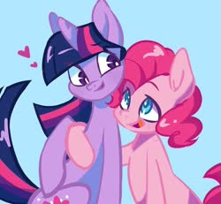Size: 1080x997 | Tagged: safe, artist:luluneusa, pinkie pie, twilight sparkle, earth pony, pony, blue background, female, lesbian, looking at each other, mare, shipping, simple background, twinkie