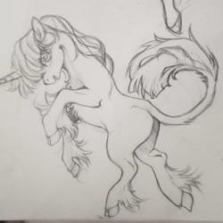 Size: 1080x1080 | Tagged: safe, artist:luluneusa, twilight sparkle, classical unicorn, pony, unicorn, chest fluff, cloven hooves, eye clipping through hair, female, leonine tail, mare, monochrome, rearing, solo, traditional art, unicorn twilight, unshorn fetlocks