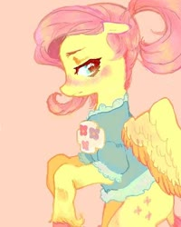 Size: 480x600 | Tagged: safe, artist:luluneusa, fluttershy, pegasus, pony, alternate hairstyle, blouse, blushing, female, floppy ears, looking away, looking sideways, mare, ponytail, profile, simple background, solo, spread wings, unshorn fetlocks, wings