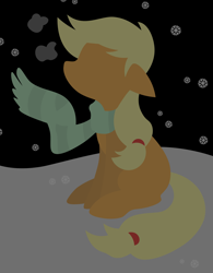 Size: 7019x9020 | Tagged: safe, artist:egor418, applejack, earth pony, pony, clothes, female, lineless, mare, minimalist, modern art, night, scarf, sitting, snow, snowfall, snowflake, solo, winter