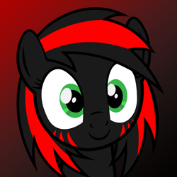 Size: 2048x2048 | Tagged: safe, artist:losttemplar, oc, oc:dark pony, pegasus, pony, avatar, black and red, bust, gradient background, looking at you, portrait, red and black mane, red and black oc, smiling, solo, vector