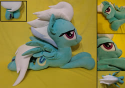 Size: 2064x1457 | Tagged: safe, artist:whirlwindflux, fleetfoot, pegasus, pony, female, irl, mare, photo, plushie, prone, solo, spread wings, wings