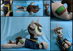 Size: 2480x1748 | Tagged: safe, artist:whirlwindflux, oc, oc only, oc:littlepip, pony, unicorn, fallout equestria, clothes, female, horn, irl, mare, photo, pipbuck, plushie, prone, solo, vault suit