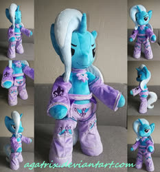 Size: 1024x1101 | Tagged: safe, artist:agatrix, trixie, pony, semi-anthro, anthro plushie, bipedal, clothes, female, irl, mare, photo, plushie, solo