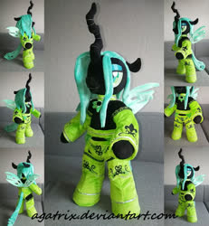 Size: 1024x1109 | Tagged: safe, artist:agatrix, queen chrysalis, changeling, semi-anthro, anthro plushie, bipedal, clothes, female, horn, irl, photo, plushie, solo, wings