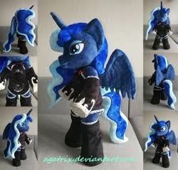 Size: 1024x978 | Tagged: safe, artist:agatrix, princess luna, alicorn, pony, semi-anthro, anthro plushie, bipedal, clothes, female, horn, irl, photo, plushie, solo, wings