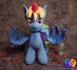 Size: 1280x1157 | Tagged: safe, artist:1stastrastudio, rainbow dash, pegasus, pony, secrets and pies, evil pie hater dash, female, irl, mare, photo, plushie, solo, spread wings, wings