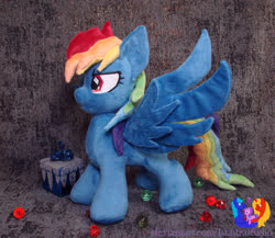 Size: 1280x1113 | Tagged: safe, artist:1stastrastudio, rainbow dash, pegasus, pony, secrets and pies, evil pie hater dash, female, irl, mare, photo, plushie, solo, spread wings, wings