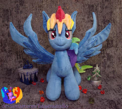 Size: 1280x1144 | Tagged: safe, artist:1stastrastudio, rainbow dash, pegasus, pony, secrets and pies, evil pie hater dash, female, irl, mare, photo, plushie, solo, spread wings, wings
