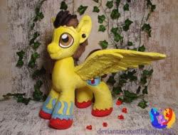 Size: 1280x972 | Tagged: safe, artist:1stastrastudio, oc, oc only, oc:hyperblitz, pegasus, pony, ear piercing, gauges, irl, male, photo, piercing, plushie, solo, spread wings, stallion, wings