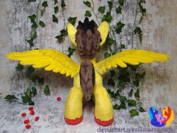 Size: 1280x960 | Tagged: safe, artist:1stastrastudio, oc, oc only, oc:hyperblitz, pegasus, pony, ear piercing, gauges, irl, male, photo, piercing, plushie, solo, spread wings, stallion, wings