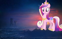 Size: 1920x1229 | Tagged: safe, artist:dashiesparkle, princess cadance, alicorn, pony, female, future, giant pony, giantess, highrise ponies, irl, macro, mega giant, photo, ponies in real life