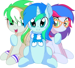 Size: 7665x6997 | Tagged: safe, artist:cyanlightning, oc, oc only, oc:azure lightning, oc:cyan lightning, oc:emerald lightning, pegasus, pony, unicorn, .svg available, absurd resolution, brother and sister, clothes, colt, ear fluff, female, filly, folded wings, glasses, hug, lidded eyes, looking at you, male, open mouth, scarf, siblings, simple background, smiling, transparent background, trio, vector, wings