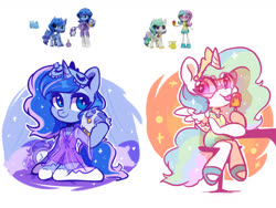 Size: 1600x1200 | Tagged: safe, artist:colorfulcolor233, princess celestia, princess luna, alicorn, anthro, bird, owl, pony, unguligrade anthro, equestria girls, arm hooves, chibi, cute, female, food, kneeling, looking at you, mare, popsicle, royal sisters, siblings, sisters, sitting, smiling, tongue out, toy