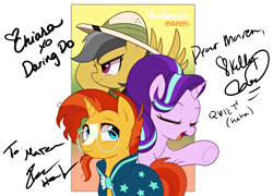 Size: 5000x3600 | Tagged: safe, artist:maren, daring do, starlight glimmer, sunburst, pegasus, pony, unicorn, autograph, chiara zanni, eyes closed, female, high res, ian hanlin, kelly sheridan, male, mare, open mouth, signature, stallion, vanhoover, vanhoover pony expo 2020