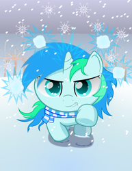 Size: 1669x2160 | Tagged: safe, artist:spellboundcanvas, oc, oc only, oc:cyan lightning, clothes, cute, hoofprints, it's coming right at us, magic, magic aura, scarf, snow, snowball, snowfall, snowflake, tree