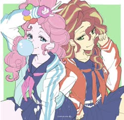 Size: 1308x1262 | Tagged: safe, artist:5mmumm5, pinkie pie, sunset shimmer, equestria girls, bracelet, bubblegum, clothes, cute, duo, female, fingerless gloves, food, gloves, gum, jewelry, lidded eyes, looking at you, majisuka gakuen, peace sign, sailor uniform, school uniform, uniform