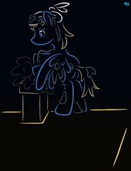 Size: 600x785 | Tagged: safe, artist:quint-t-w, oc, oc only, oc:soot smearer, pegasus, pony, bipedal, chimney, chimney sweep, gradient background, headkerchief, old art, roof, solo, soot, squint