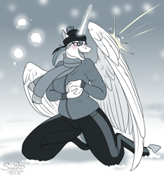 Size: 1000x1067 | Tagged: safe, artist:sunny way, princess celestia, alicorn, anthro, pony, feather, fun, horn, magic, open mouth, playing, snow, snowball, snowball fight, solo, wings, winter