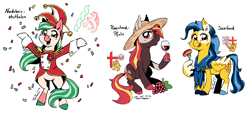 Size: 2106x950 | Tagged: safe, artist:taritoons, oc, oc only, oc:spring rose, unnamed oc, earth pony, pegasus, pony, alcohol, carnival, clothes, confetti, food, germany, hat, meat, nation ponies, ponified, sausage, uniform, wine, wing hands, wings