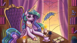 Size: 3840x2160 | Tagged: safe, artist:wooxx, princess celestia, alicorn, pony, book, bookshelf, candle, chair, crown, cup, female, hoof shoes, inkwell, jewelry, looking at you, magic, magic aura, mare, peytral, quill, regalia, scroll, sitting, solo, teacup, telekinesis, window